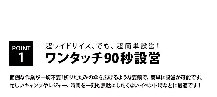 POINT1.ワンタッチ90秒設営