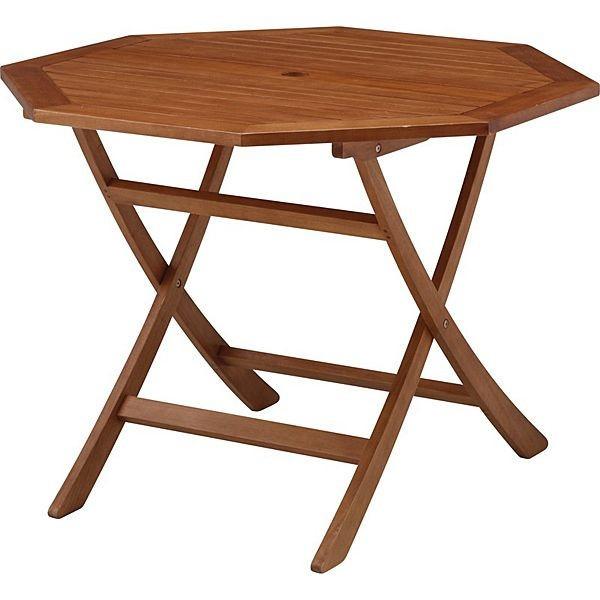 ガーデン テーブル セット 折りたたみ パラソル穴付 天然木製 テーブル1台
