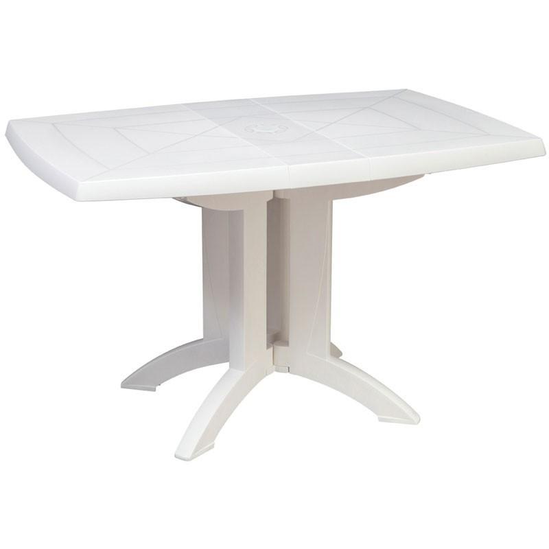 ガーデンテーブル 屋外用 テーブル フランス Grosfilex社製 ベガ テーブル118×77 ホワイト GRS-T05W 完成品、折りたたみ可 ガーデン家具 庭 テラス