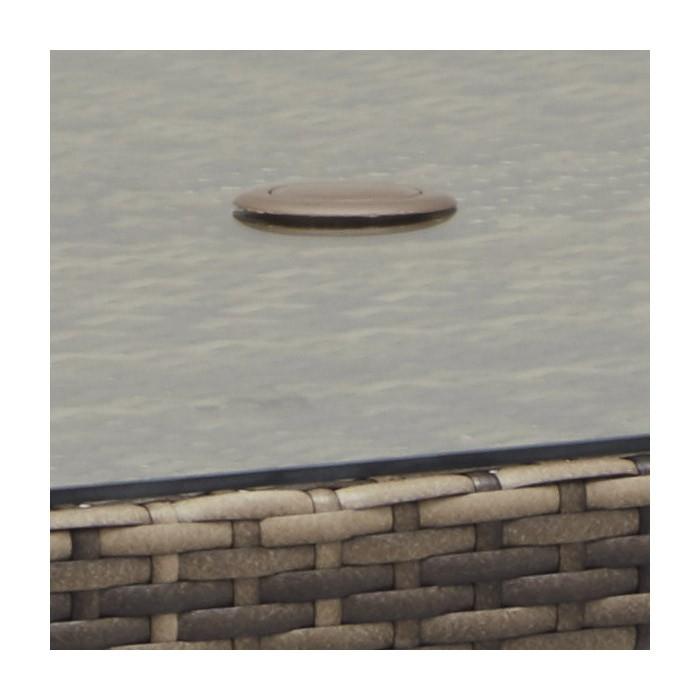 ガーデンテーブル パラソル穴付 人工ラタン ラタン PATIO PETITE(パティオプティ) SAHARA サハラ・ダイニング・6人掛け(ガラス天板付) テーブル W1455×D855×H720mm(パラソル穴径)Φ40cm 組立品 屋内 屋外 兼用家具 高級 人工ラタン ラタン ガラス天板 パラソルホール おしゃれ ガーデン テラス バルコニー ベランダ