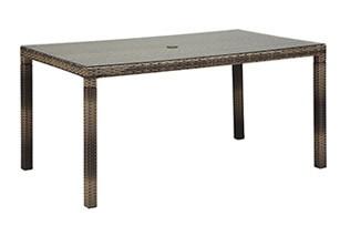 SAHARA サハラ・ダイニング・6人掛け(ガラス天板付) テーブル W1455×D855×H720mm(パラソル穴径)Φ40cm 組立品