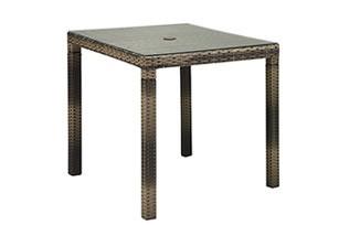 SAHARA サハラ・ダイニング・4人掛け(ガラス天板付)テーブル W855×D855×H720mm(パラソル穴径)Φ4cm 組立品