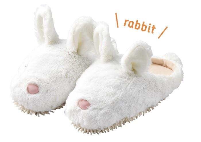 モップスリッパ 洗える  ふわふわモップスリッパ(ウサギ) 足のサイズ約23〜26cmに対応