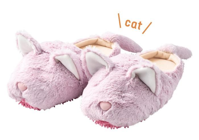 モップスリッパ 洗える  ふわふわモップスリッパ(ネコ) 足のサイズ約23〜26cmに対応