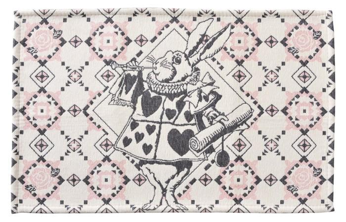玄関マット 室内・屋内用 ふしぎの国のアリス インテリアマット(ラッパうさぎ)  約80×50cm 洗える玄関マット