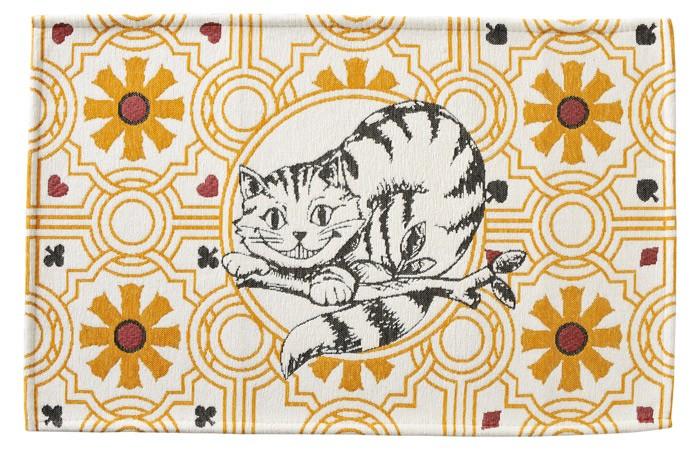 玄関マット 室内・屋内用 ふしぎの国のアリス インテリアマット(チシャ猫)  約80×50cm 洗える玄関マット