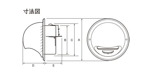 ステンレス製 丸型フード付ガラリ GN100SHD-HL 1台単位 ヘアーライン 100φ用 ビス穴パンチ ダンパー付 新築 リフォーム DIY 住宅 換気 外壁換気口 自然吸排気口用品