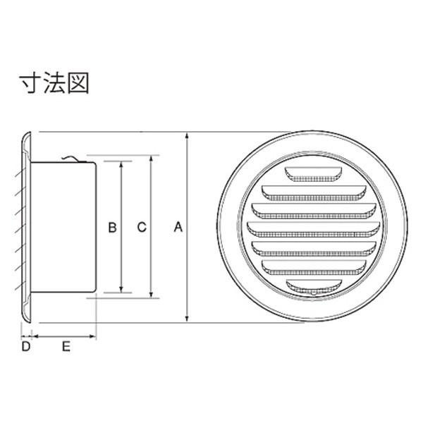 ステンレス製 丸型ガラリ SGN150S-DK 24台/1ケース単位 電解研磨 150φ用 新築 リフォーム DIY 住宅 換気 外壁換気口 自然吸排気口用品