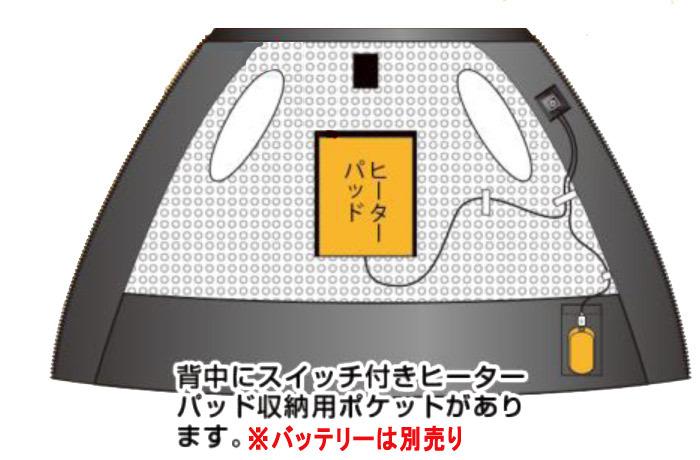 ヒーターベスト 電熱ベスト ブレイン ヒートベスト 中綿入り防寒 インナーベスト Vネックタイプ バッテリー付き ヒーター付きベスト