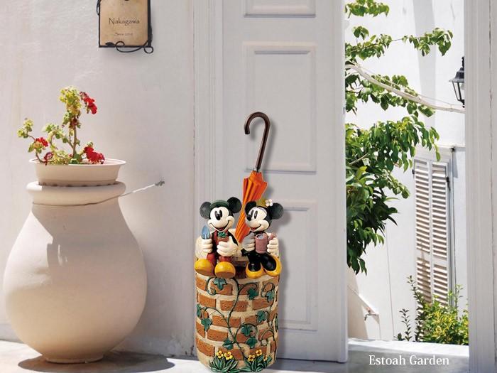 傘立て ミッキーマウスとミニーマウス 受け皿付き  ガーデンニング雑貨
