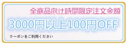時間限定 100円割引クーポン