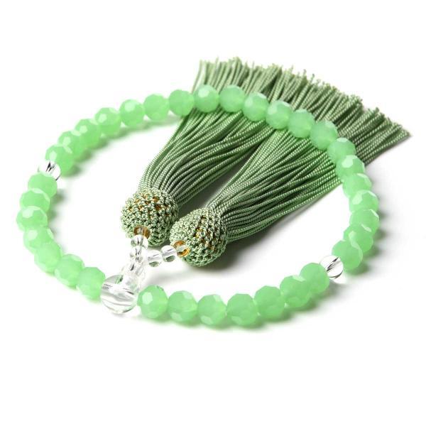 数珠 女性用 多種類選 ミラーカット  商品ポーチ付 念珠 esuon 12