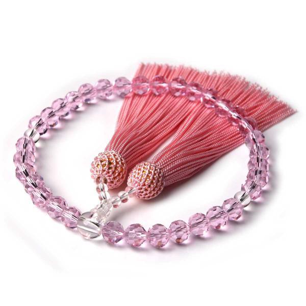 数珠 女性用 多種類選 ミラーカット  商品ポーチ付 念珠 esuon 09