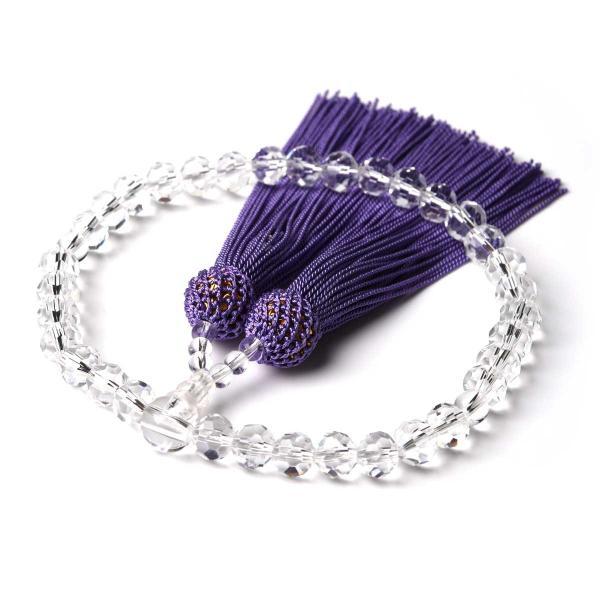 数珠 女性用 多種類選 ミラーカット  商品ポーチ付 念珠 esuon 08