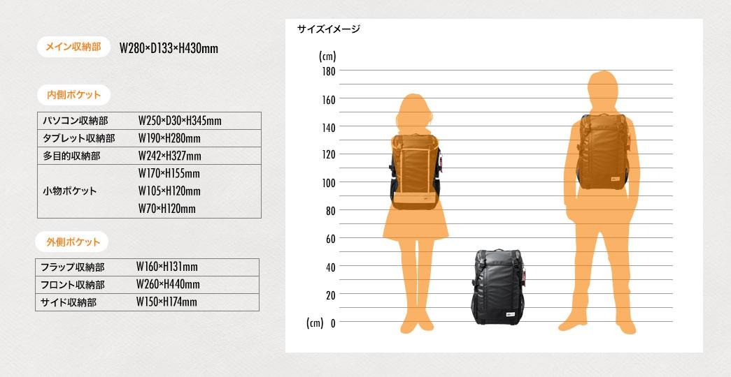 サイズイメージ メイン収納部、内側ポケット、外側ポケット 寸法