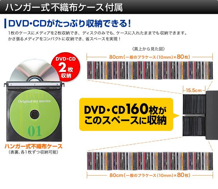ハンガー式不織布ケース付属 DVD・CDがたっぷり収納できる
