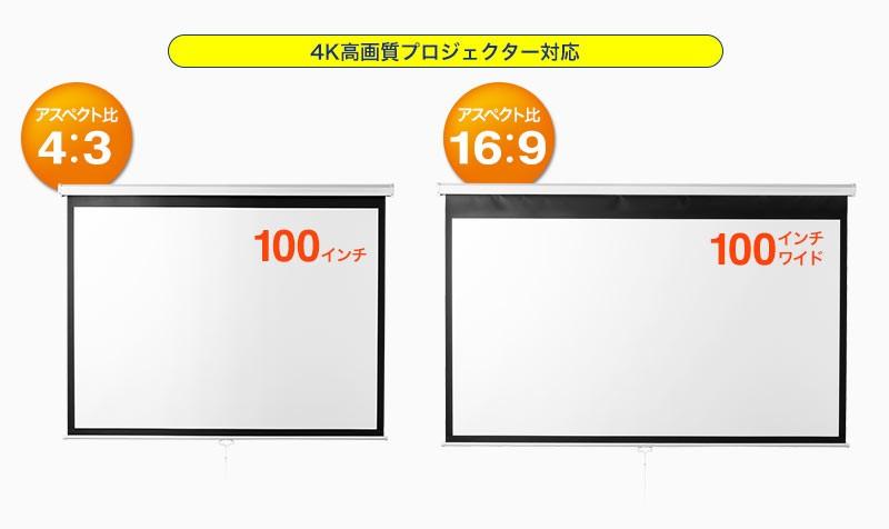 4K高画質プロジェクター対応 アスペクト比4:3 16:9
