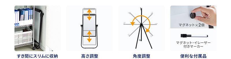 すき間にスリムに収納 高さ調整 角度調整 便利な付属品