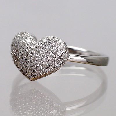 パヴェ留 天然ダイヤモンド ホワイトゴールドK18 ハートモチーフ  リング(指輪)