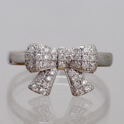 パヴェ留 天然ダイヤモンド ホワイトゴールドK18 リボンモチーフ  リング(指輪)