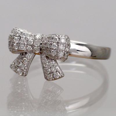 パヴェ留 天然ダイヤモンド K18ゴールド リボンモチーフ  リング(指輪)