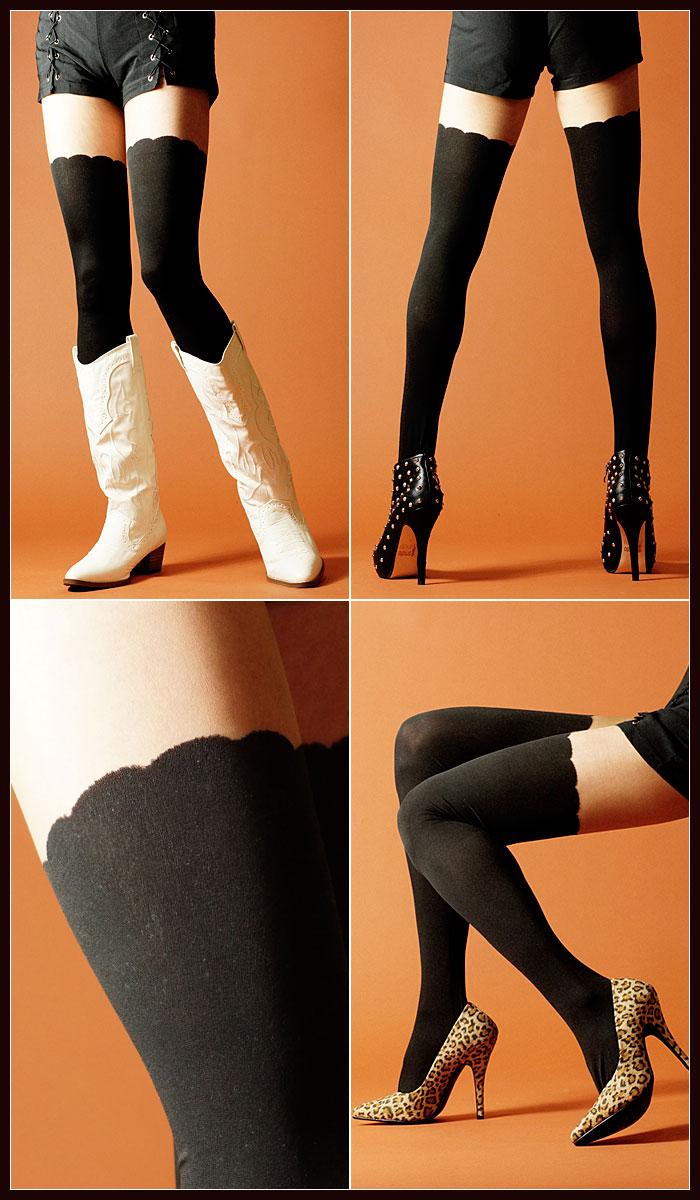 ストッキング タイツ パンスト 美脚 デザイン 柄 黒 ブラック セクシー サイハイ ソックス 衣装 ランジェリー コスプレ