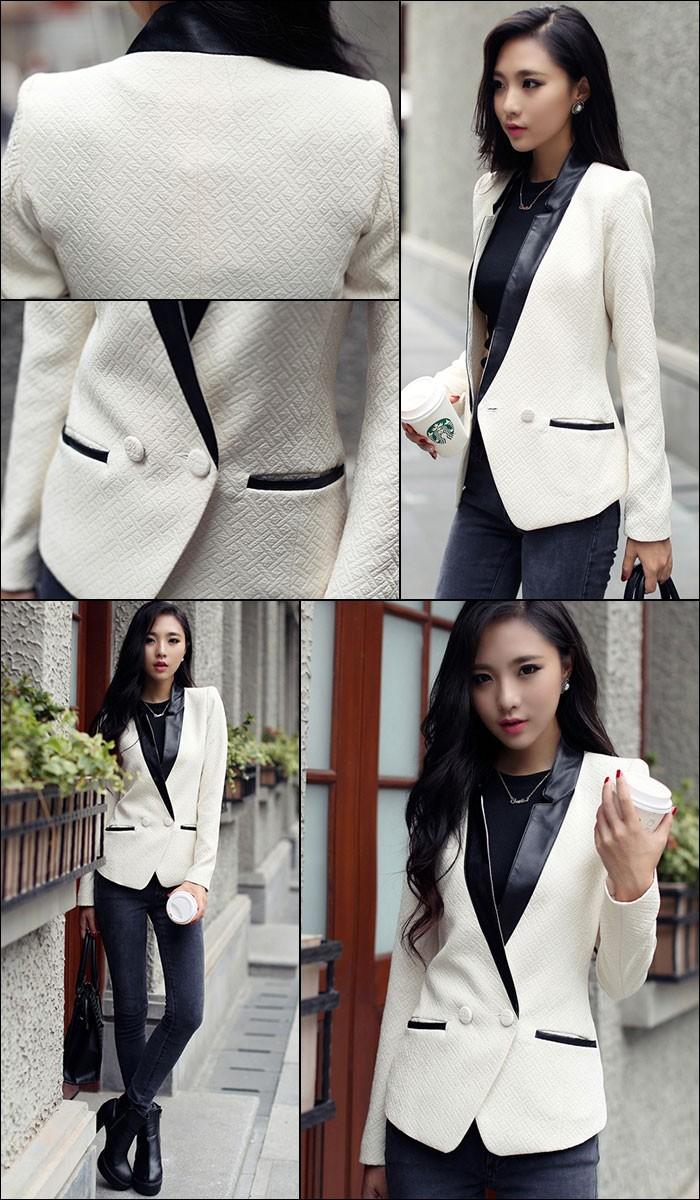 ジャケット レディース 長袖 白 ホワイト 黒 ブラック フェイクレザー 大きいサイズ XL LL 衣装