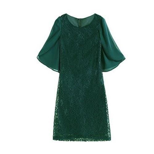 パーティードレス ドレス ワンピース 結婚式 パーティードレス お呼ばれ 薄手 大きいサイズ ドレス お呼ばれ 半袖 膝丈 フォーマル フリル袖 レース|etokyo|25
