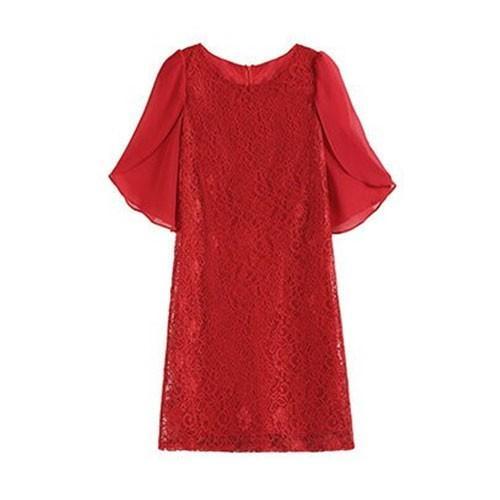 パーティードレス ドレス ワンピース 結婚式 パーティードレス お呼ばれ 薄手 大きいサイズ ドレス お呼ばれ 半袖 膝丈 フォーマル フリル袖 レース|etokyo|29