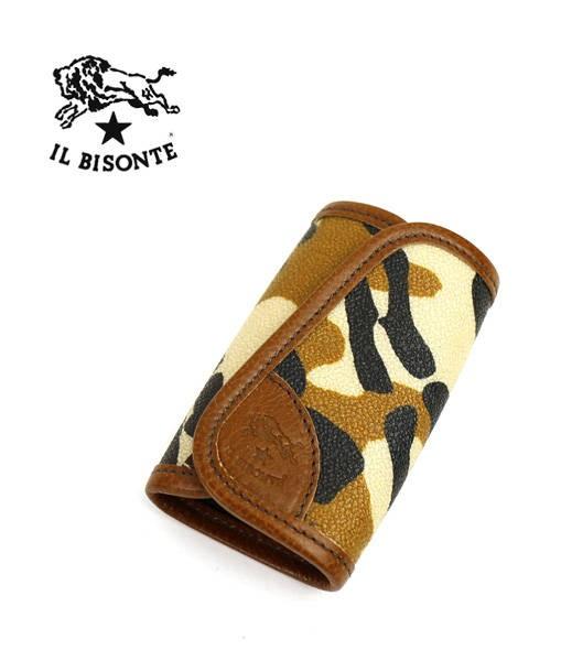 IL BISONTE(イルビゾンテ) レザー カモフラージュ柄 UOMO マジックテープ キーケース・5402305176  #ILBISONTE