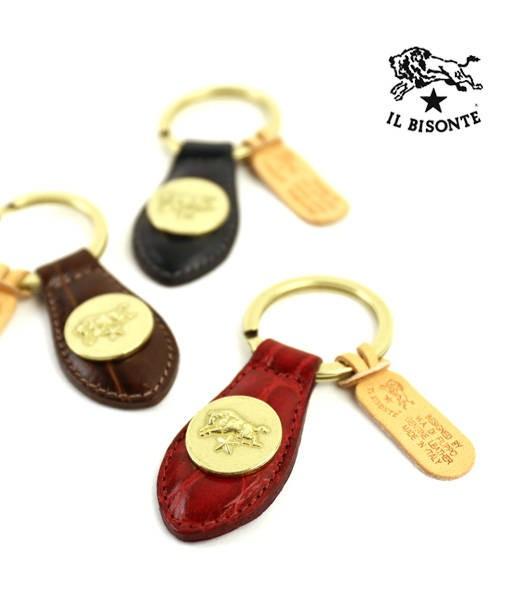IL BISONTE(イルビゾンテ) 型押し レザー メダル付き キーホルダー・5432409250  #ILBISONTE
