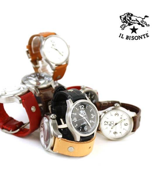 IL BISONTE(イルビゾンテ) レザー 型押しレザー カレンダー付き クォーツ式 腕時計 リストウォッチ(L)・5422310597-A  #ILBISONTE