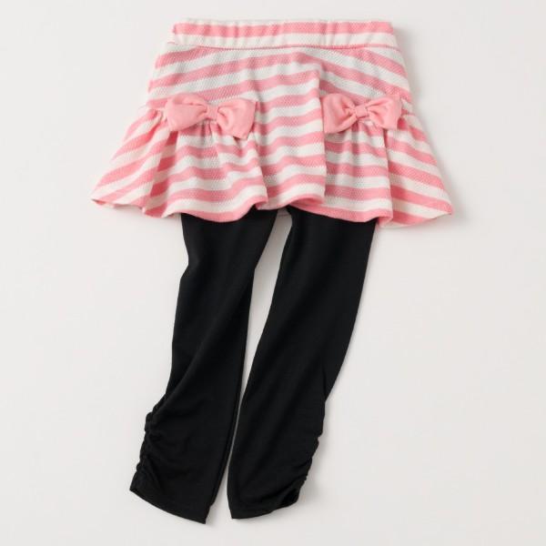 \SALE/レギンス付きスカート インナーパンツ付きスカート スカッツ 女の子 ボーダー リボン  80 90 100 110 120 130 こども服 キッズ ベビー|evercloset|16