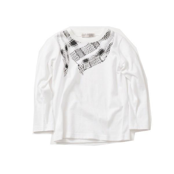 長袖tシャツ 男の子 女の子 白 黒 グレー ネイビー プリントt キッズ 100cm 110cm 120cm 130cm コットン 綿100% evercloset 18