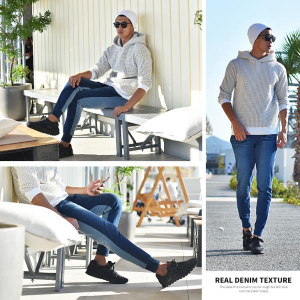 ジョガーパンツ メンズ デニム スウェットパンツ スウェット スウェットデニム カットデニム スリム ジョガー パンツ 大きいサイズ 小さいサイズ|evergreen92|23