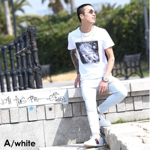 Tシャツ メンズ 半袖 夏 コーデ ブランド Vネック  新品 おしゃれ タイト 小さめ クルーネック かっこいい プリント ロゴ 白|evergreen92|22