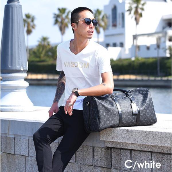 Tシャツ メンズ 半袖 夏 コーデ ブランド Vネック  新品 おしゃれ タイト 小さめ クルーネック かっこいい プリント ロゴ 白|evergreen92|27