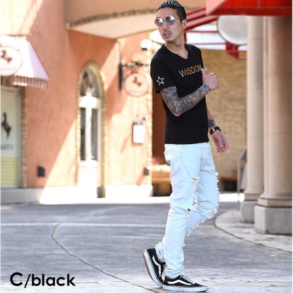 Tシャツ メンズ 半袖 夏 コーデ ブランド Vネック  新品 おしゃれ タイト 小さめ クルーネック かっこいい プリント ロゴ 白|evergreen92|28