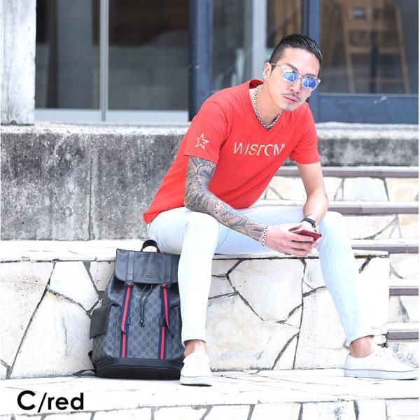 Tシャツ メンズ 半袖 夏 コーデ ブランド Vネック  新品 おしゃれ タイト 小さめ クルーネック かっこいい プリント ロゴ 白|evergreen92|29