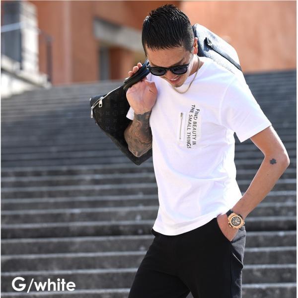 Tシャツ メンズ 半袖 夏 コーデ ブランド Vネック  新品 おしゃれ タイト 小さめ クルーネック かっこいい プリント ロゴ 白|evergreen92|37