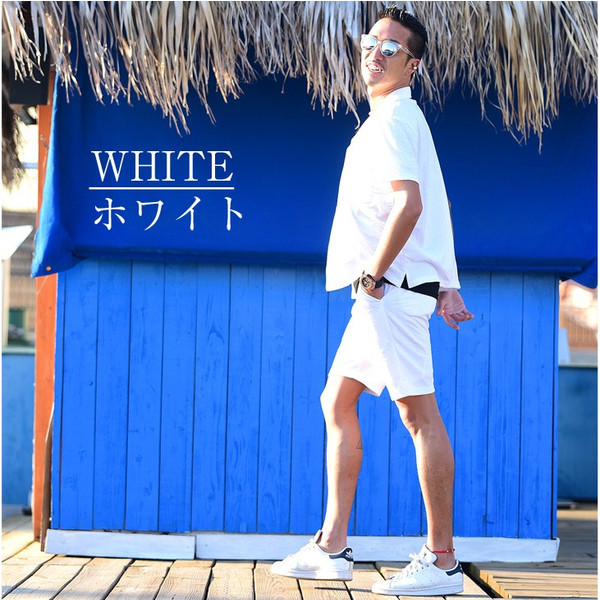 セットアップ メンズ 上下 オープンカラーシャツ 開襟シャツ カラー オープン シャツ 半袖 ショート パンツ ショートパンツ  ハーフパンツ evergreen92 21