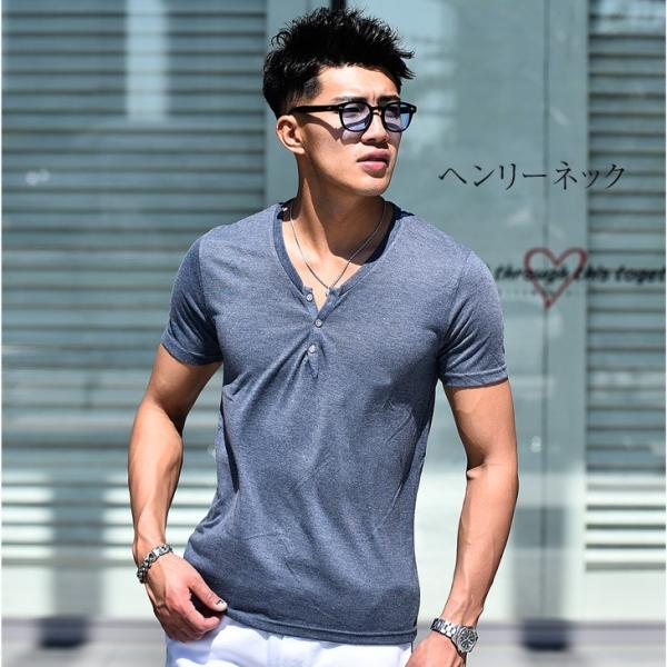 Tシャツ メンズ 半袖 ヘンリーネック tシャツ 無地 キーネック 半袖tシャツ 大きいサイズ トップス  夏 スリム LL|evergreen92|25