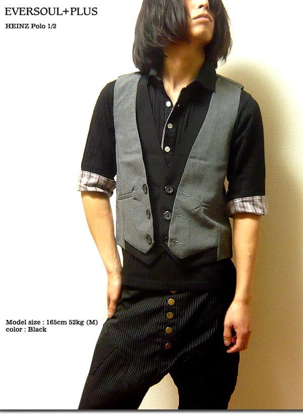 日本袖�y�>x�_ポロシャツ日本製7分袖メンズ七分袖5分袖五分袖:629:EVERSOUL