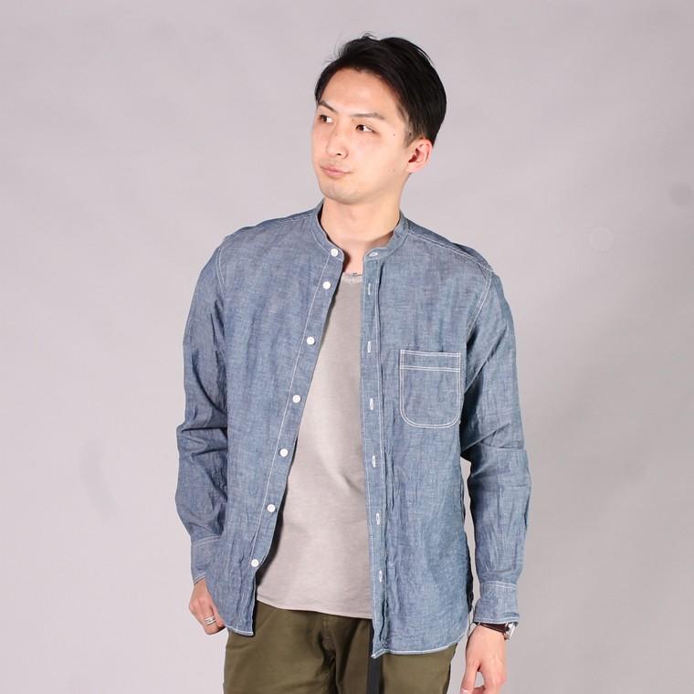 R&VINTAGE アールアンドヴィンテージ,セルビッチ シャンブレー スタンドカラーシャツ バンドカラーシャツ 日本製 国産 ホワイト ブルー メンズファッション,通販 通信販売