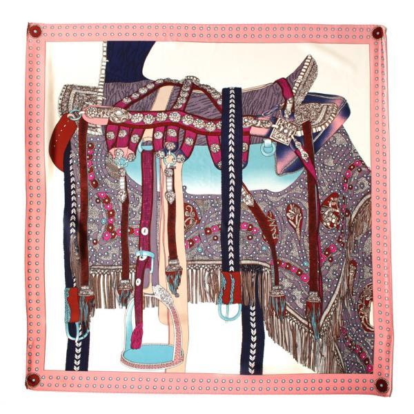 スカーフ 大判 シルクタッチ 花柄 チェック柄 大判スカーフ リング ベルト バッグ ドット リボン|exrevo|25