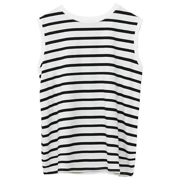 ノースリーブ Tシャツ レディース 春 夏 ボーダー ロゴ 白 ホワイト カットソー トップス 送料無料|f-odekake|29