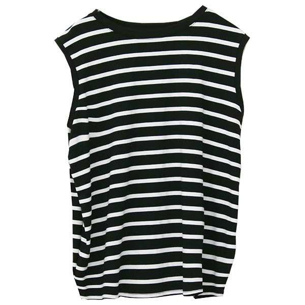 ノースリーブ Tシャツ レディース 春 夏 ボーダー ロゴ 白 ホワイト カットソー トップス 送料無料|f-odekake|30