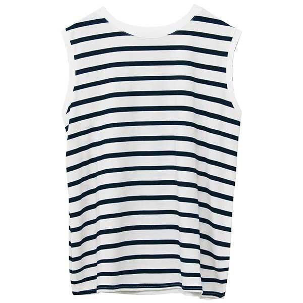 ノースリーブ Tシャツ レディース 春 夏 ボーダー ロゴ 白 ホワイト カットソー トップス 送料無料|f-odekake|31