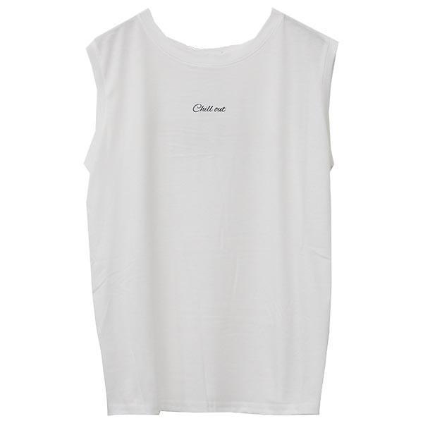 ノースリーブ Tシャツ レディース 春 夏 ボーダー ロゴ 白 ホワイト カットソー トップス 送料無料|f-odekake|27