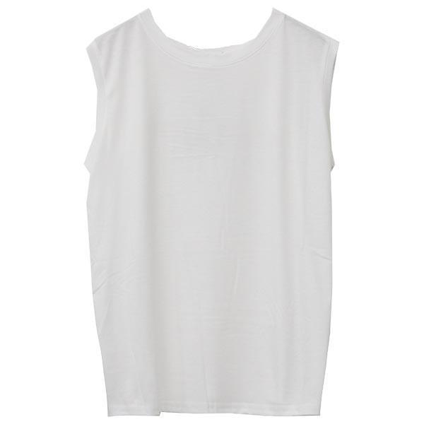 ノースリーブ Tシャツ レディース 春 夏 ボーダー ロゴ 白 ホワイト カットソー トップス 送料無料|f-odekake|22